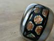 Skleněné prsteny velké - hnědozlatý mix - Velká medová plástev