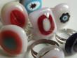 Skleněné prsteny větší - do růžova