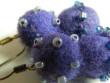 Náušnice vlněné - fialový pidi sněhulák