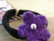 Gumička kytička - fialová a korálkem