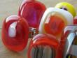 Skleněné prsteny velké - červenožlutý mix