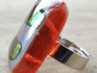 Skleněné prsteny velké - červenožlutý mix - Podlouhlý se zlatem
