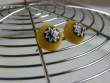 Náušnice skleněné kytičky - hvězdička ve žluté