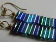 Náušnice z drátků a tyček - modré dlouhé 3cm