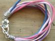 Náramek růžovo-fialové šňůrky