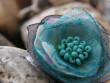 Prstýnek něžný kvítek - šedo tyrkysový
