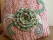 Čepice růžová s mentolovým květem