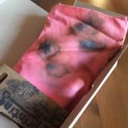 Šátek ecoprint růžový