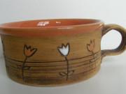 Hrnek s tulipánky oranžový nízký