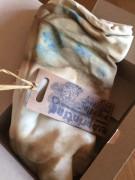 Šátek ecoprint béžovo - hnědý