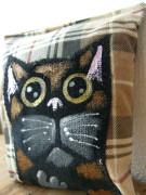 Kočičí mini polštářek kostkovaný