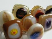 Skleněné prsteny větší - hnědé a béžové