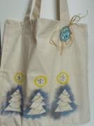 Vánoční nákupní taška tři modré stromečky