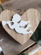 Dřevěné srdíčko s andílkem přírodní