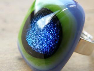 Skleněné prsteny velké - modrý mix
