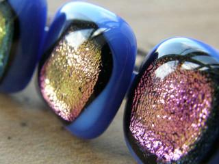 Skleněné prsteny velké - fialový mix