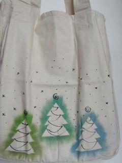 Vánoční nákupní taška tři zelené stromečky