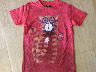 Dětské tričko kočičí červené