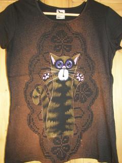 Dámské tričko černé s kocourkem