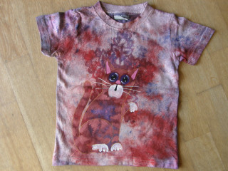 Dětské tričko s kočičkou a krajkou