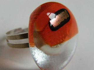 Skleněné prsteny větší - červené a oranžové