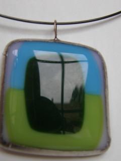 Náhrdelník fusing modro zelený
