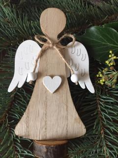 Anděl na stojánku přírodní