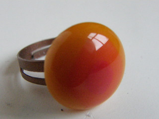 Skleněné prsteny malé - žluté a oranžové