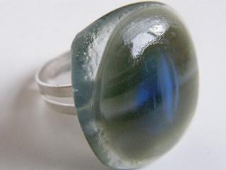 Skleněné prsteny větší - šedé a černé