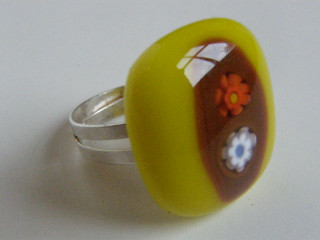 Skleněné prsteny větší - žluté